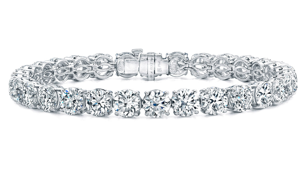 diamond silver and c w baguette bypass t in bracelet round zales sterling bracelets tennis v