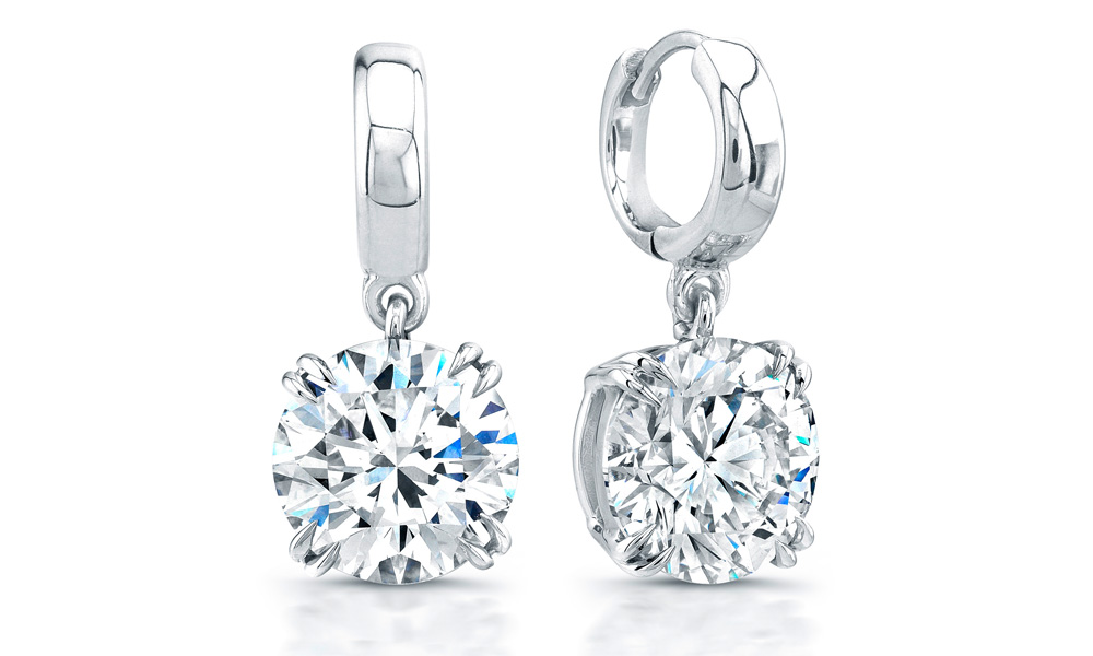crystal earrings silver sparkling exquisite white sterling heart drop charm diamond stud