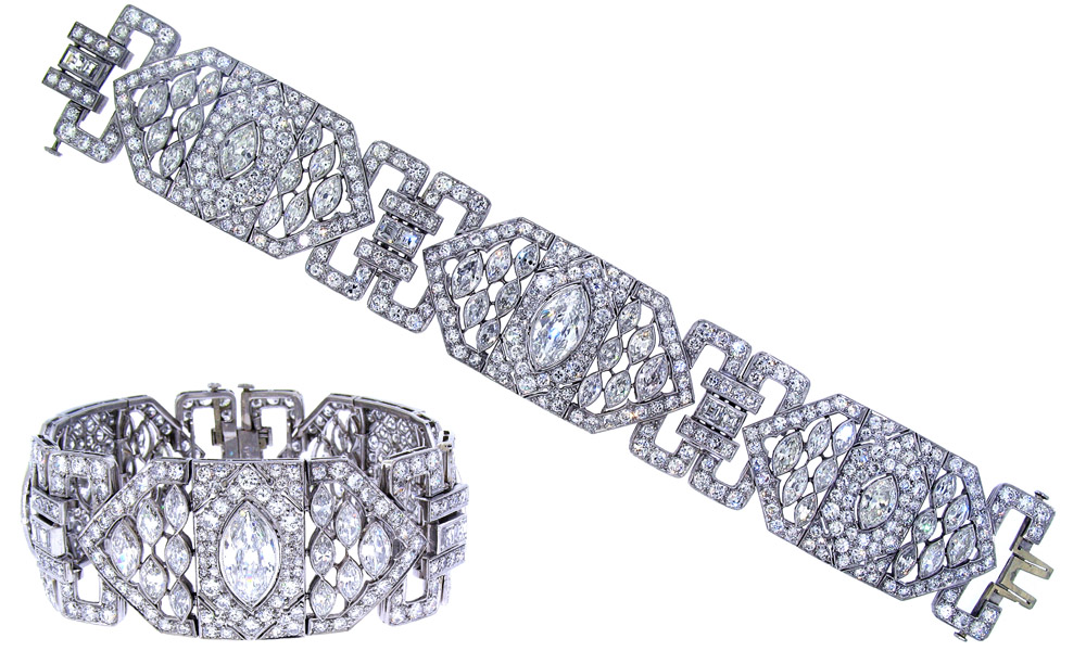 product village blue platinum diamonds art sapphires goldsmith color french h bracelet diamond g sapphire in and cut deco antiques si circa vs