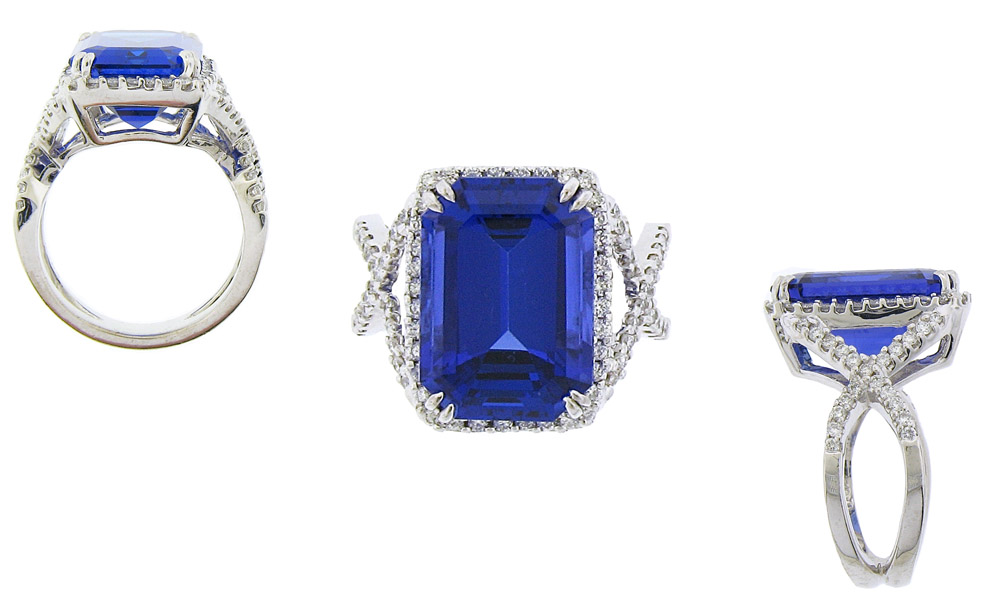 tanzanite stone gold diamond side and cut emerald ring white